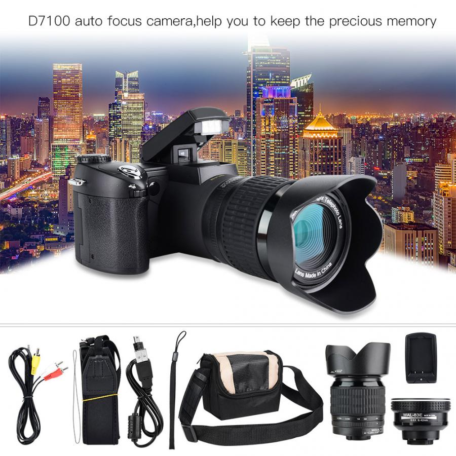 Photo-Camcorder Camera Profissional ZOOM D7100 Digital LED LCD 33MP HD 24X 3-