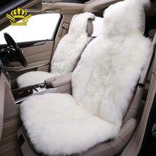 Sheepskin ธรรมชาติรถยนต์ Universal รถหรูหราภายในเบาะนั่งรถขนสัตว์สำหรับ Toyota Lada KIA โฟล์คสวาเก้น BMW Hyundai