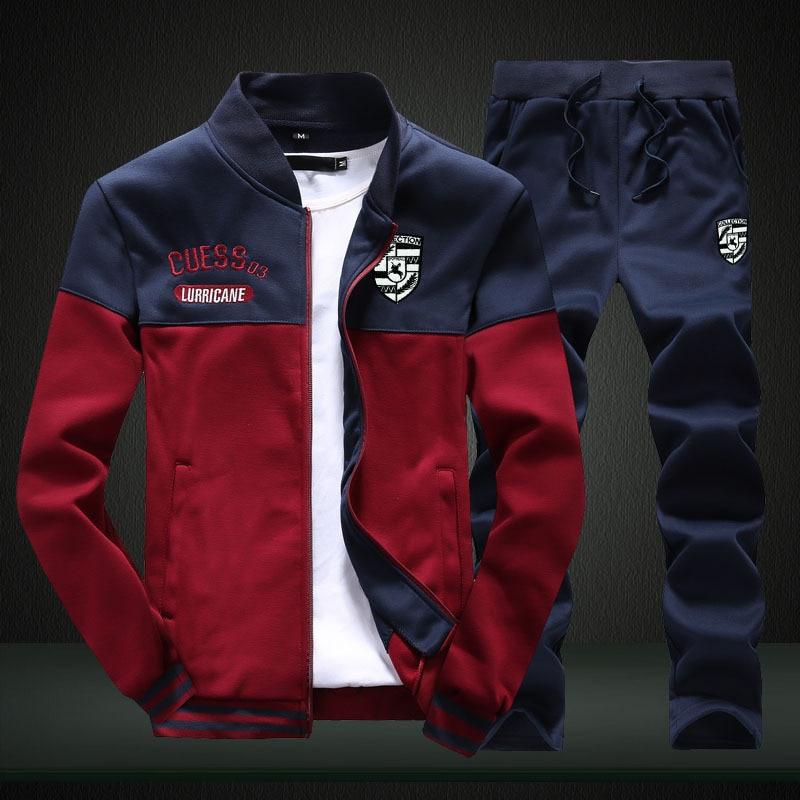 Men Casual Long Sleeve Crew Neck Loose-Fit Hoodie Suit Youth Versatile Students Cardigan Coat Men's Two-Piece Set