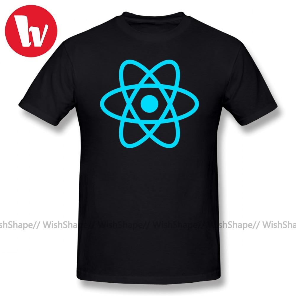 Javascript T Shirt React Cartoon Print T-Shirt Men Casual T Shirts Summer Male Short Sleeve 100% Cotton Tee Shirt Funny Tshirt