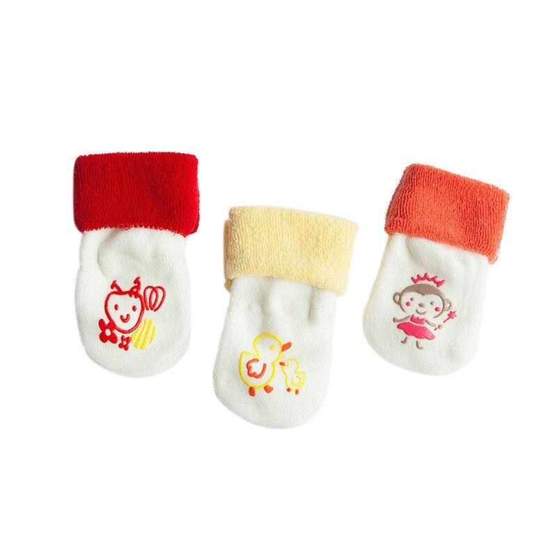 Милые хлопковые чулки для маленьких мальчиков и девочек, новые теплые махровые зимние чулки для новорожденных,# E - Цвет: R