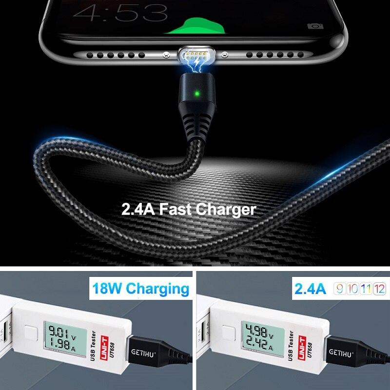 GETIHU 2.4A быстрое зарядное устройство 3,0 Магнитный кабель для iPhone XS XR X 7 6 Быстрый Micro usb type C магнит type-C телефонный кабель для samsung