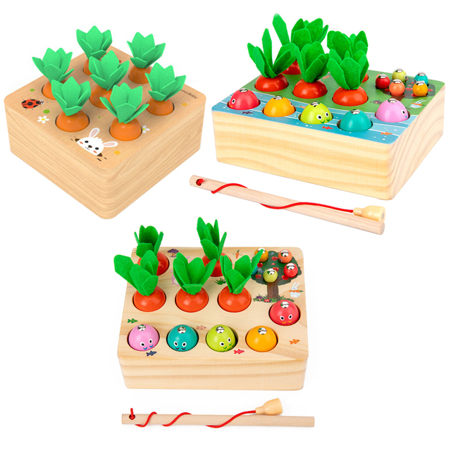Montessori Puzzle Toys 3D Cognitive Strawberry Grasping Ability Wooden Toy Early Educational Puzzle Catch Worm Game Baby Toys 2