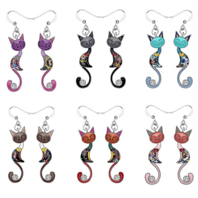 Funny Colorful Temperament Kitten Cat Dangle Earrings For Women Girls Teens Personality Cat Earrings Fashion Animal Jewelry