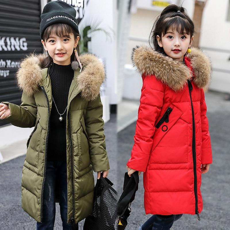 2019 vestes d'hiver filles fourrure à capuchon Long enfants manteaux blanc canard vers le bas chaud vêtements d'extérieur pour enfants coupe-vent chaud gros Gilrls vêtements