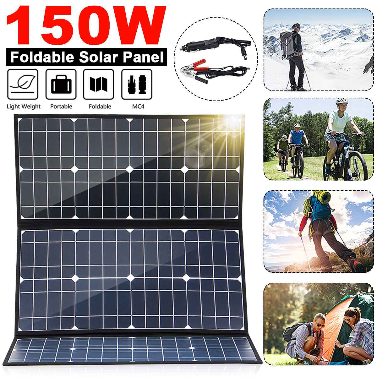 Foldable <font><b>150W</b></font> 18V <font><b>Solar</b></font> <font><b>Panel</b></font> Monocrystalline <font><b>Solar</b></font> Cells 5V USB 12V DC MC4 For Camping/Boat/RV/Travel/Home image
