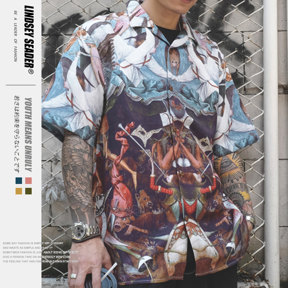 Lindsey Seader Hawaii Beach Vacation Shirts Oil Paint Planet Printed Turn-down Collar Men's Shirt Short Sleeve Tropical Shirts image