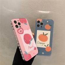 حافظة هاتف مطبوعة ريترو برتقالي خوخي لهاتف آيفون 12 mini 11 Pro Max 7 8 plus X XR XS Max SE 2020 غطاء حدود قلب الحب اللطيف