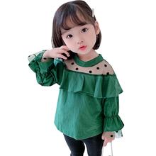 Bluzka dla dziewczynek koszule dla dziewczynek Dot wzór koszule dziecięce dla dziewczynek Patchwork ubrania dla maluchów dla dziewczynek tanie tanio CN (pochodzenie) Na co dzień COTTON Poliester Pełna Pasuje prawda na wymiar weź swój normalny rozmiar Suknem Dziewczyny