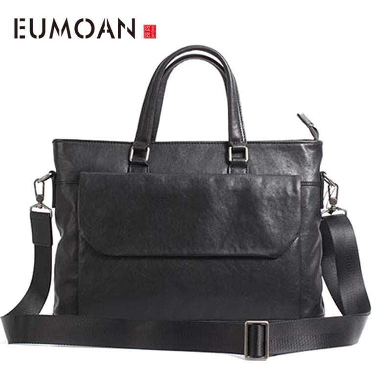 AETOO New Vegetable Tanned Leather Men's Business Handbag Horizontal Section Leather Male Briefcase Head Layer Leather Computer
