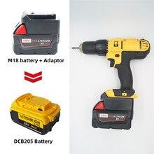 Adaptateur de batterie Milwaukee M18 18V convertir en Dewalt 18V/20V Max batterie Li ion DCB205 DCB2000 outils de perceuse électrique