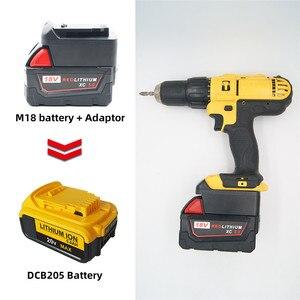 Image 1 - Milwaukee M18 18V адаптер батареи преобразует в Dewalt 18V/20V Max литий ионный аккумулятор DCB205 DCB2000 электрические сверлильные инструменты