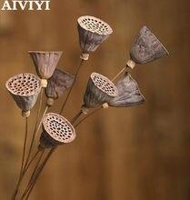 Grandes fleurs naturelles séchées de Lotus, Bouquet de ferme, branches de plantes séchées, décorations florales d'automne pour fête à la maison