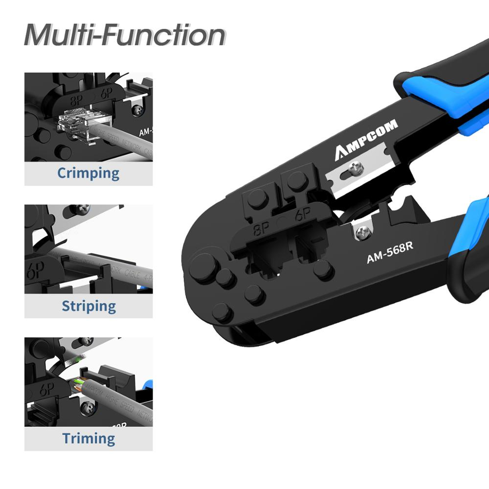 AMPCOM Superme Series Blue RJ11 RJ45 Crimping Tool Ratchet Crimping Pliers Network Cable CrimpTool For 4 6P 8P RJ-11/RJ-12 RJ-45