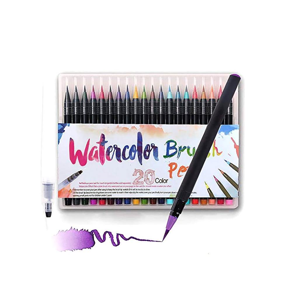 20pcs Colorful Art Markers Brushes Pens Soft Head Brush Calligraphy Pen For School Supplies Writing For Drawing