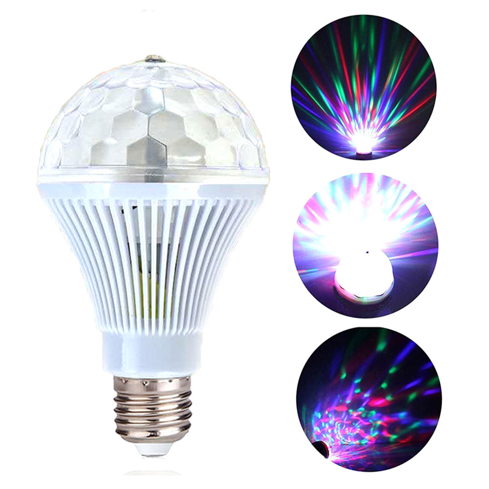 Disco 3W E27 RGB Rotating Light LED Multicolor Strobe Bulb Stage Light Decor For Holiday Birthday Party Dance  Auto Rotating