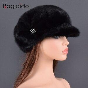 Image 3 - Moda vizon kürk kap kadınlar için gerçek doğal bütün kürk şapka üst aksesuarları sıcak rus kış kürk şapkalar bayan