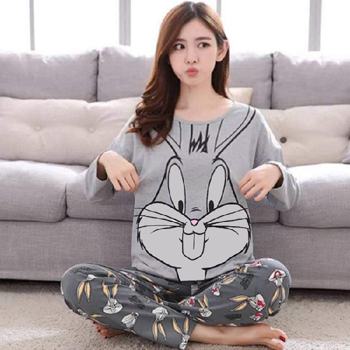 Bugs Bunny Cartoon Pajamas Women's Autumn Long Sleeve Crew Neck Low Price Qmilch Homewear Set Southeast Asia