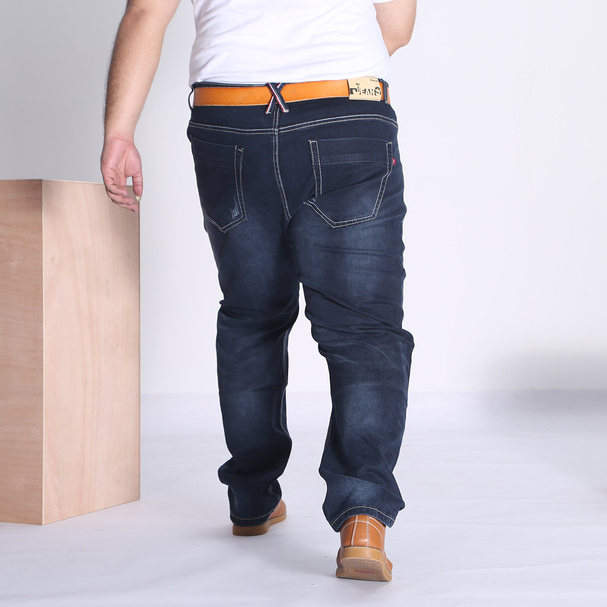 15006 Autumn And Winter New Style Casual Business Men's Trousers Large Size Jeans Men's Elasticity Plus-sized Pants 32-48