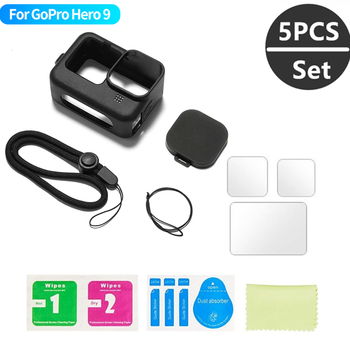 Silicone Case for GoPro Hero 9 Black Tempered Glass Screen Protector Protective Film Lens Cap Cover for Go Pro 9 Accessories 1
