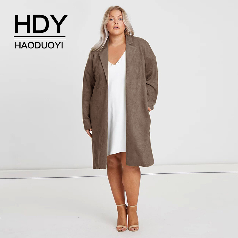 HDY Haoduoyi New Arrival Autumn Fashion Casual Style Plus Size Woman Clothes Solid Lapel Long Sleeve Suede Temperament Long Coat