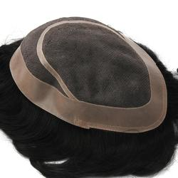 O cabelo humano da peruca do toupee do sistema do cabelo dos homens de mw parte o plutônio + mono fino líquido durável handated natural preto 6 polegadas 150% densidade 1b #