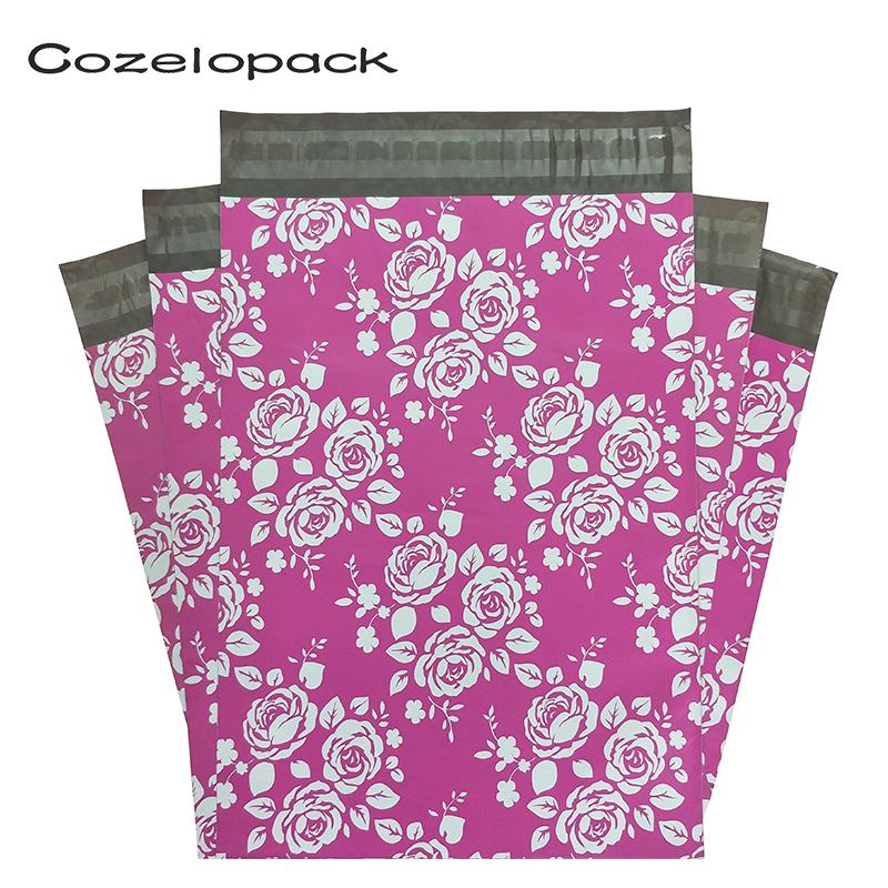 50pcs Poly Mailer Envelopes Shipping Bags In Rose Design With Self Adhesive, Postal Bags