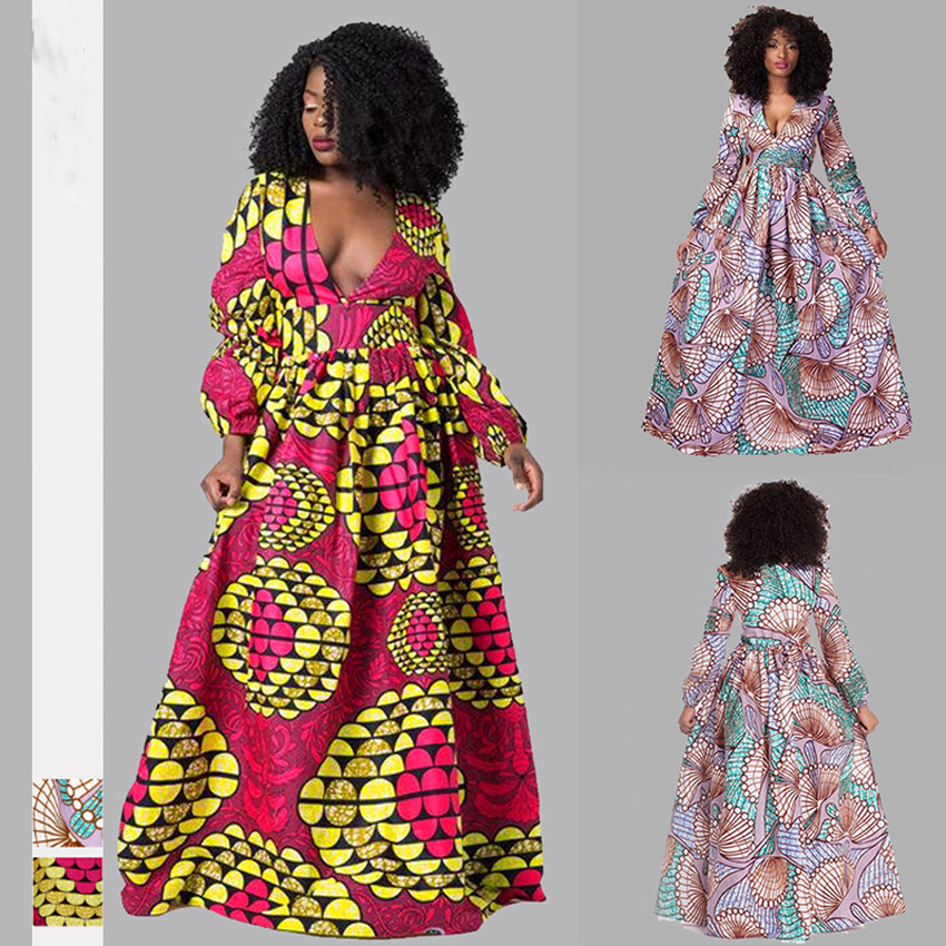 2020 News African Dresses For Women Autumn Winter Dashiki African Clothes Full Sleeve V-neck Plus Size Ladies Robe Africaine