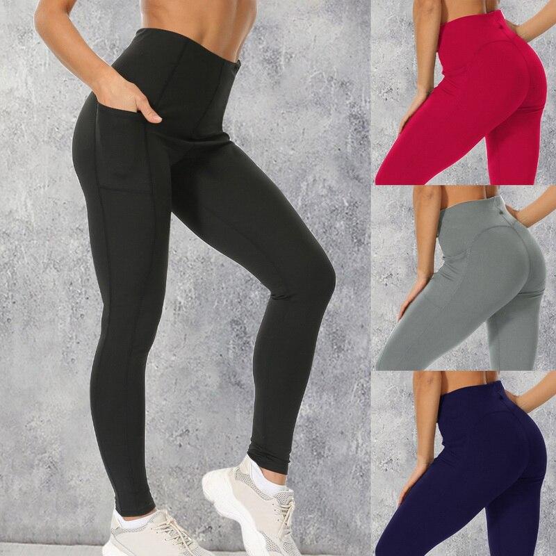 Dihope Women LeggingsWith Pocket High Waist Sport Leggings Push Up Fitness Femme Running Fitness Pants Sports Clothing 2020
