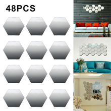 48 PCS Acrylic Mirror Wall Stickers Self Adhesive Removable Hexagonal Decorative Mirror Sheet For Home Living Room Bedroom Decor