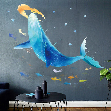Creative Underwater World Whale Wall Stickers Cute Cartoon Children's Room Decoration Bedroom Background Poster Animal Wallpaper