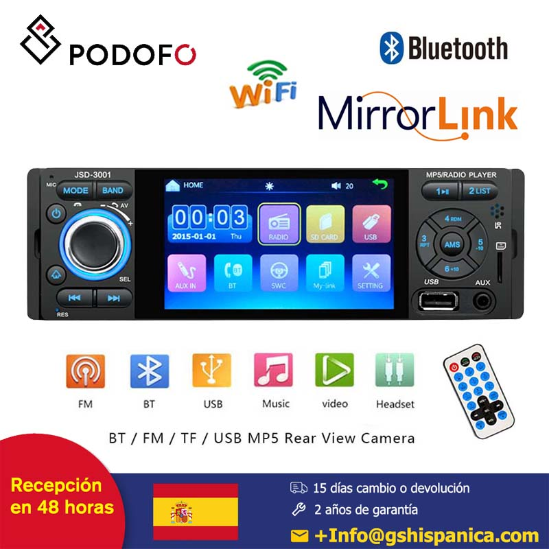 Podofo car radio 1din 4'' HD Player MP5 Bluetooth Mirror Link Capacitive Touch Screen Digital Display FM AUX USB SD image