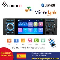 Podofo car radio 1din 4'' HD Player MP5 Bluetooth Mirror Link Capacitive Touch Screen Digital Display FM AUX USB SD