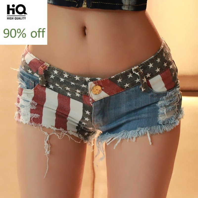 2020 New Fashion Women Sexy Club Hole Ripped Button Embroidery Low Waist Shorts Pattern Vintage Zipper Jean Denim Tassel Trouser