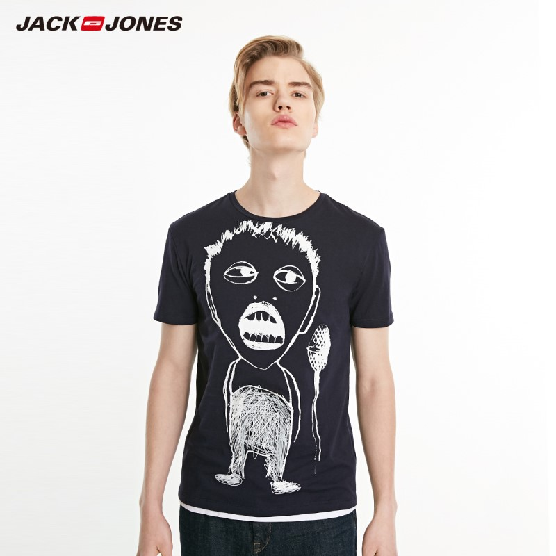 JackJones Men's 100% Cotton Slim Fit Creative Abstract Pattern Short-sleeved T-shirt Style| 219101550