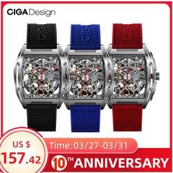 CIGA تصميم CIGA ساعة Z سلسلة ساعة نوع برميل على الوجهين الجوف التلقائي الهيكل العظمي الميكانيكية ساعة رجالي مقاوم للماء