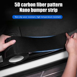 Car Stickers Door Sill Sticker Protector Carbon Fiber Bumper Strip Protect Anti-collision Scratchproof Sticker Car Accessories