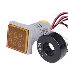 22mm led digital display gauge volt voltage meter indicator signal lamp voltmeter lights tester combo measuring range 60 500v ac Square LED Digital Voltmeter Ammeter Signal Lights Voltage Current Meter Indicator Tester Measuring Range AC 60-500V 0-100A