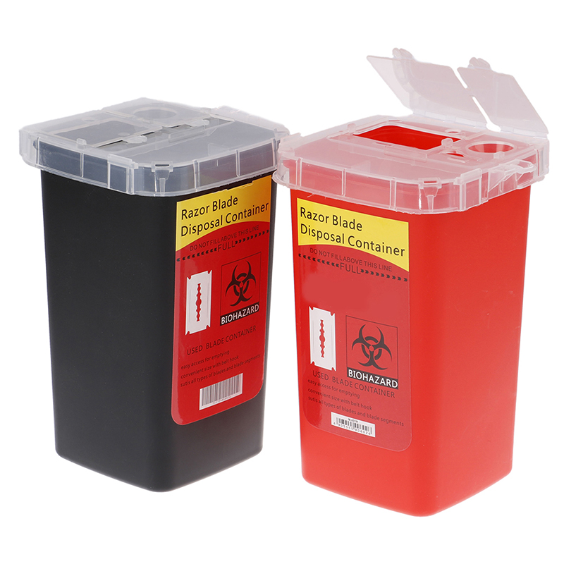 Barber Accessories Disposal Container Case Waste Blade Storage Box Tattoo Blade Syringe Needle Trash Curly Hair Collector