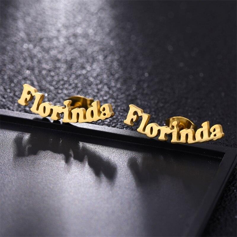 FYW Custom Name Piercing Earrings Personalized Name Stainless Steel Letter Stud Earrings For Women Nameplate Jewelry Gift