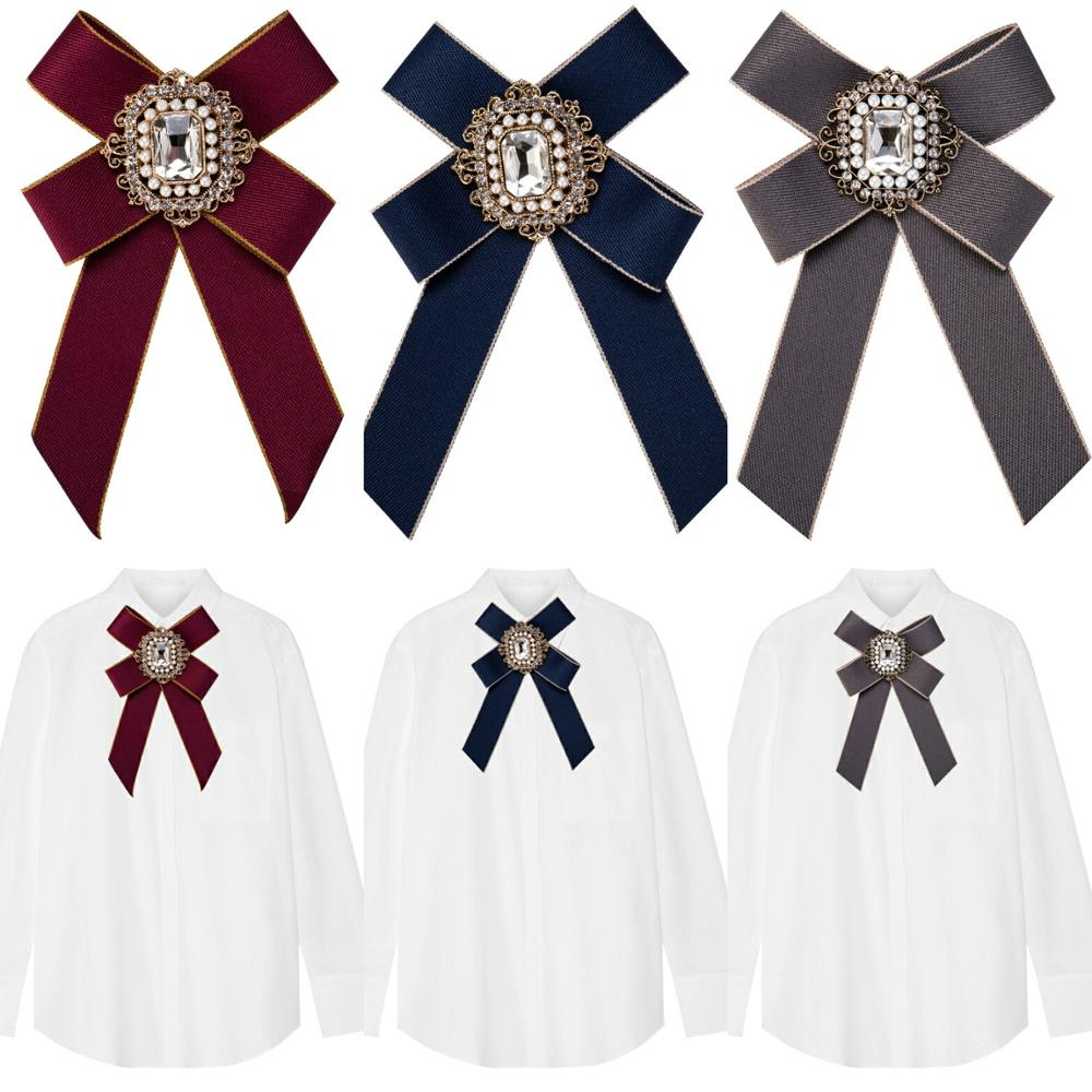 British Style Ribbon Bowtie Collar Wedding Flower Rhinestone Bowknot Neckties Girls School Uniform Neck Bow Ties For Women Men