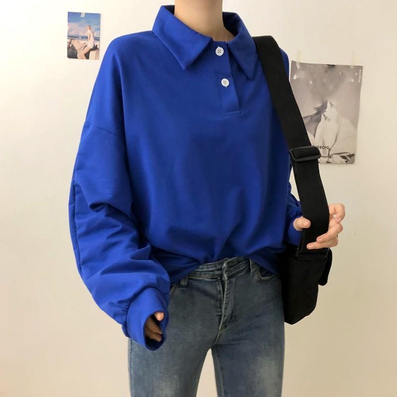Fashion Nice Women Solid Button Loose Casual Hoodies Harajuku Turn-Down Collar Long Pullovers Long Sleeve Plus Size Sweatshirts