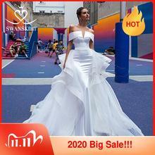 Mode 2 In 1 Hochzeit Kleid Satin Mermaid Off Schulter Abnehmbare Zug Braut Kleid Prinzessin Swanskirt F139 Vestido de Noiva