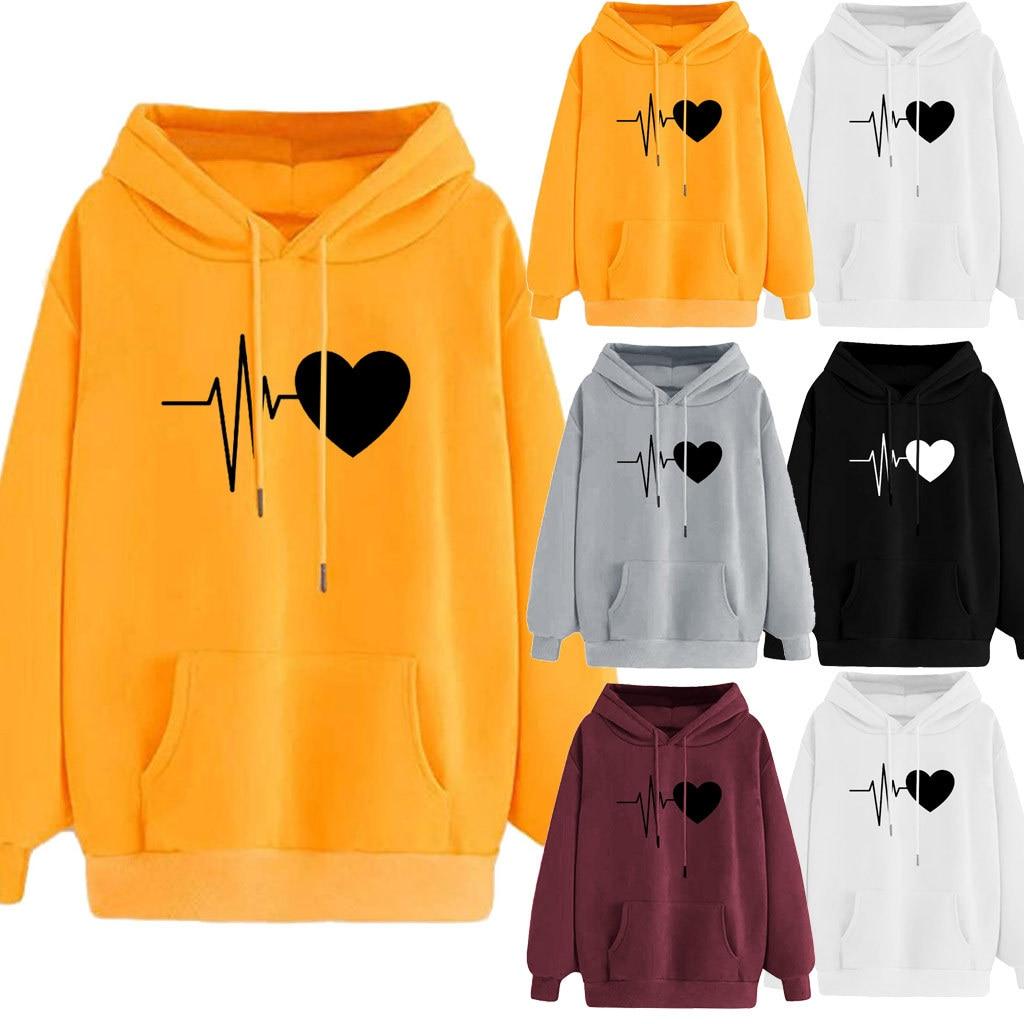 Printed Pocket Hooded Women Hoodie Sweatshirt Long Sleeve Cotton Electrocardiogram Print Hoodies For Girls Pocket Hoodie