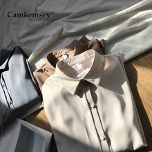 CamKemsey Office Lady Casual Work Blouses 2019 Spring Autumn Long Sleeve Turn Do