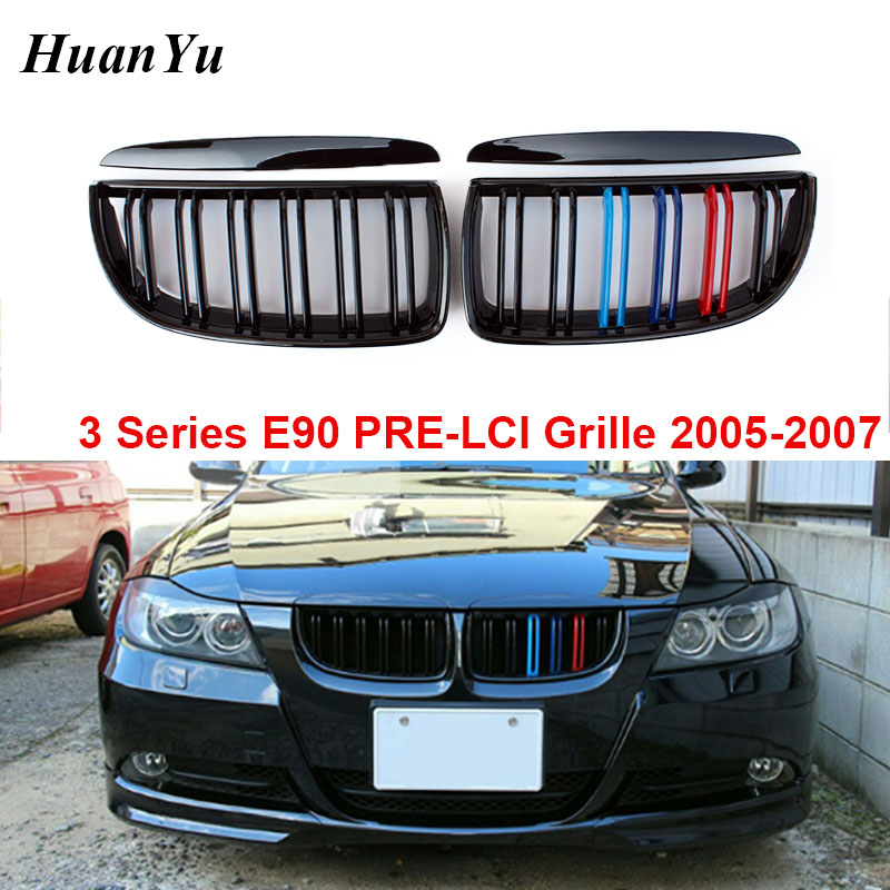 E90 PRE-LCI Front Bumper Grille for BMW 3 Series 4-door 2-slat Kidney Mesh Racing Grills E91 2005-2007 320i 325i image