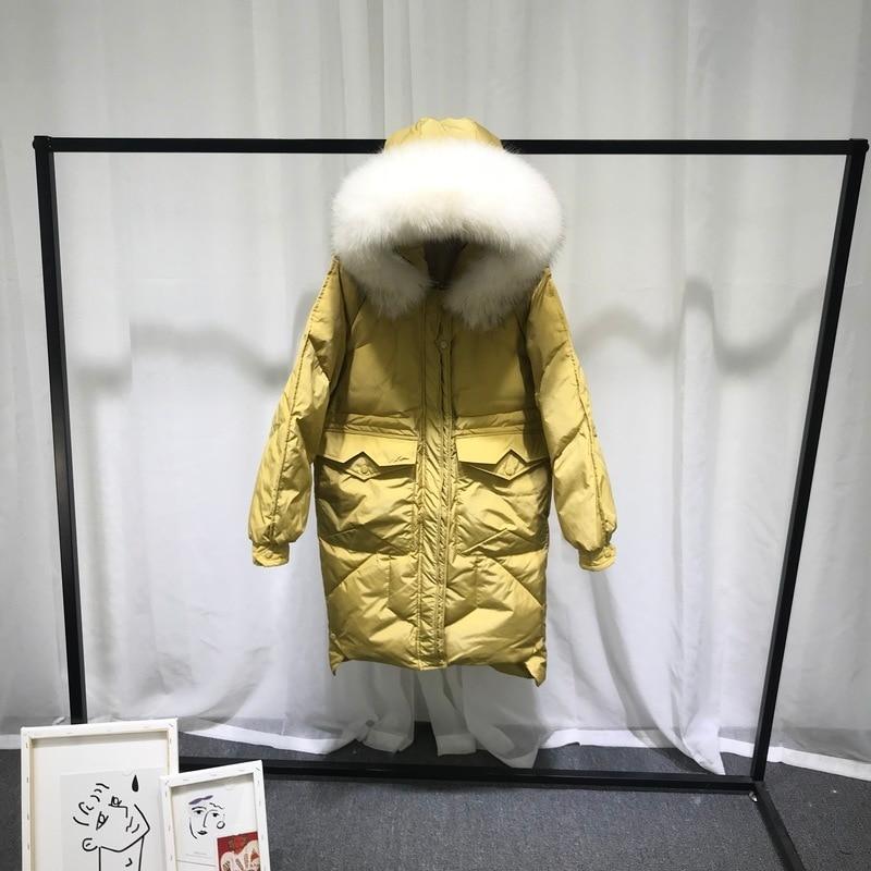 2020 Women's Winter Down Jacket Woman Hooded Big Raccoon Fur Collar White Duck Down Coat Korean Parka Veste Femme KJ3341