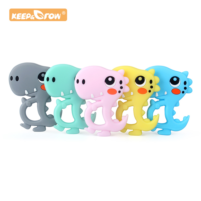 Keep&Grow 1pc Dinosaur Shaped Food Grade Silicone Baby Teethers Pendant Necklace Accessory BPA Free Chew Toys 5 Colors