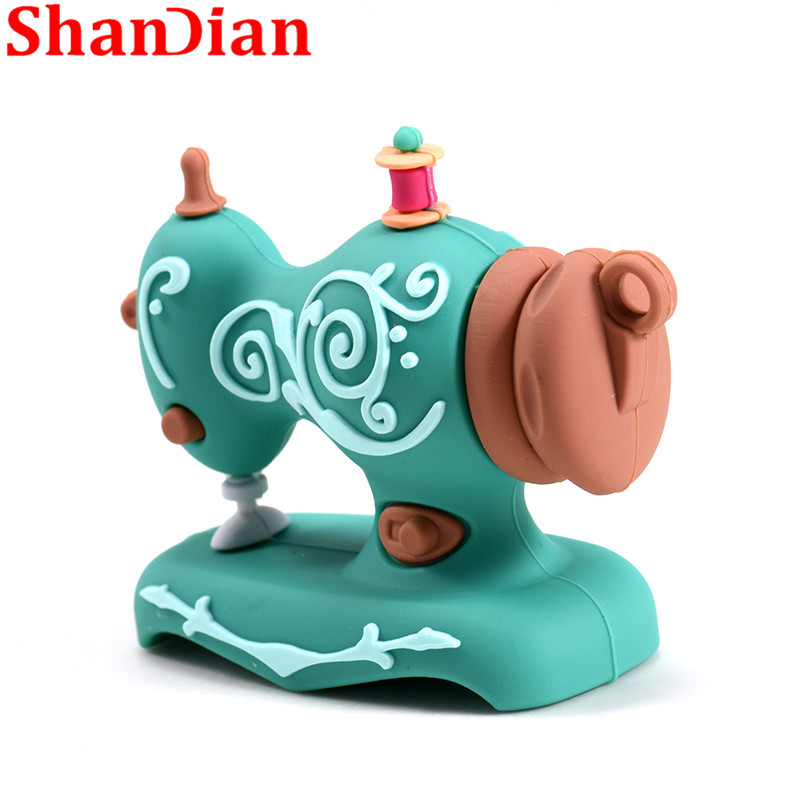 Image 2 - SHANDIAN Cartoon USB2.0 Flash Drive Sewing Machine Pen Drive Pen Drive 4GB 16GB 32GB 64GB 128GB U Disk Wedding Commemorative G-in USB Flash Drives from Computer & Office