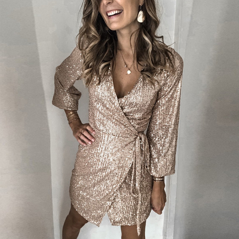 V Neck Sequin Mini Dress Sexy Clubwear Short Lace Up Glitter Gold Sequin Dress Women Party Night Shiny Christmas Dress Female